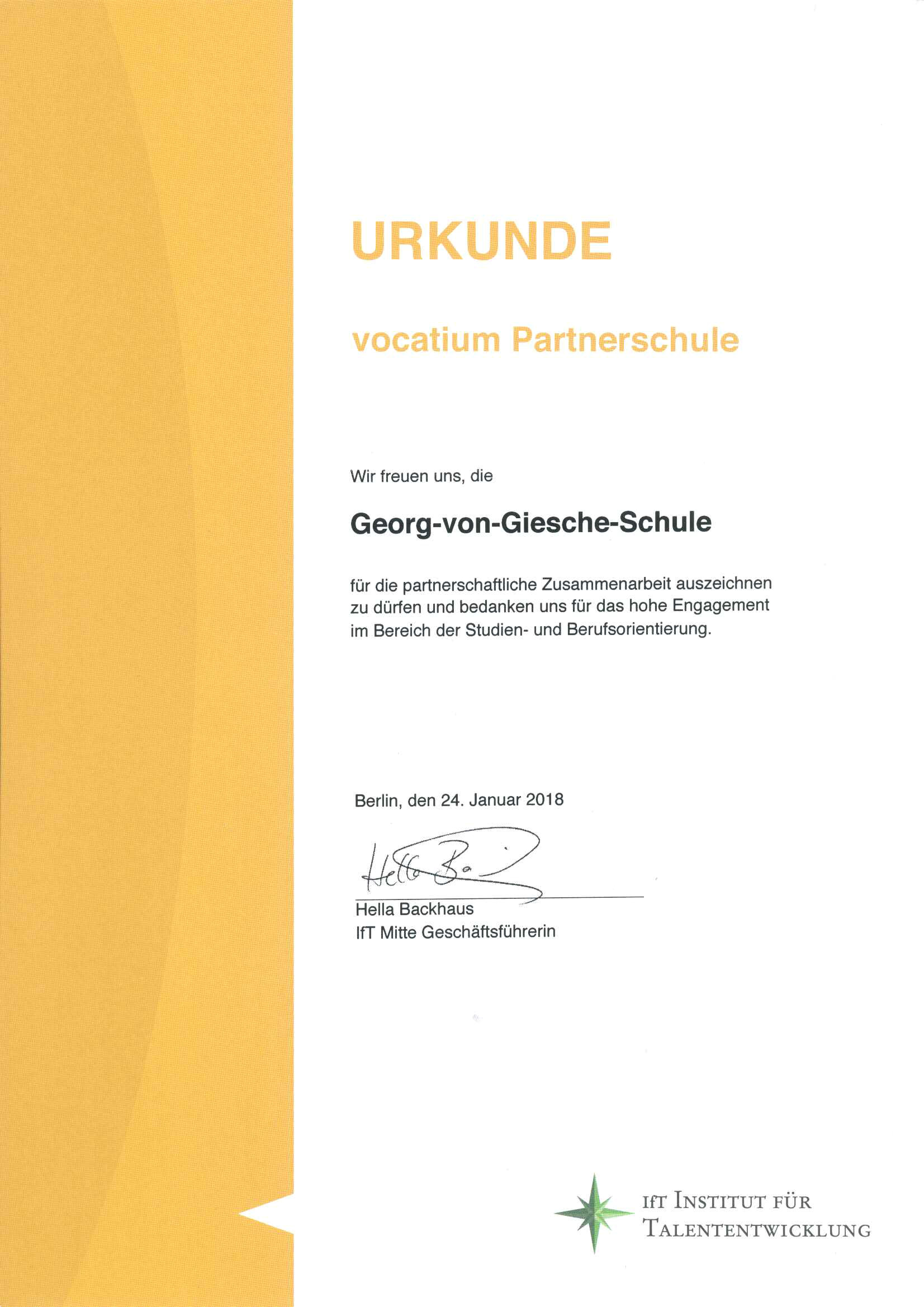 Urkunde vocatium Partnerschule